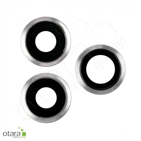 Kameraglas Linse (mit Rahmen) geeignet für iPhone 11 Pro/11 Pro Max [3 Stück], silber