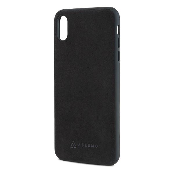 ASESMO Alcantara Handyhülle für iPhone XS Max, schwarz