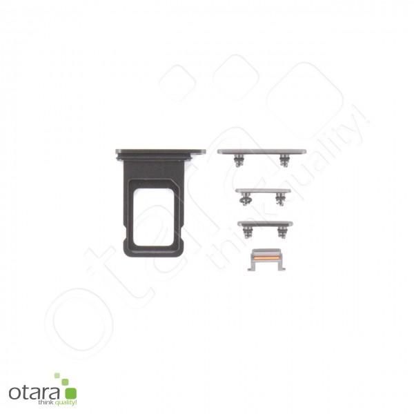 Seitentasten Set inkl. SIM Tray, 5-teilig geeignet für iPhone 11, schwarz