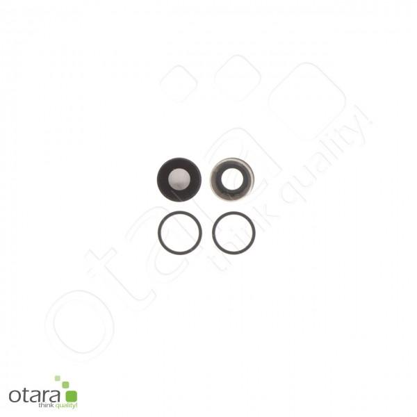 Kameraglas Linse (mit Rahmen) geeignet für iPhone 11 (2er Set), schwarz