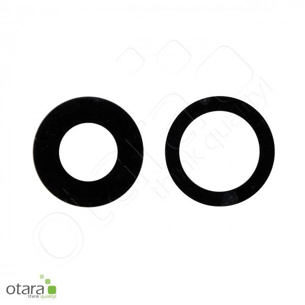 Kameraglas Linse (ohne Rahmen, mit Kleber) geeignet für iPhone 11 [2 Stück], schwarz