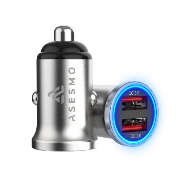 Power Adapter ASESMO (2-Port USB 3.0) KFZ CAR Charger 12V/24V, QuickCharge 3.0 [max out 36W], silber