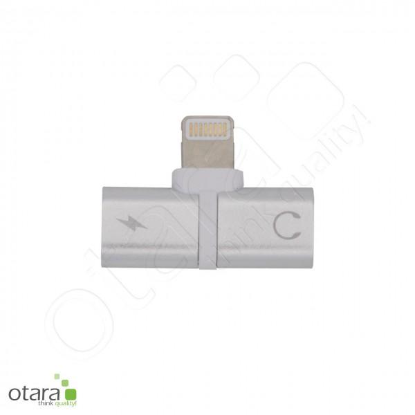 Adapter/Splitter Lightning auf Lightning/Kopfhörerbuchse 3,5mm, silber