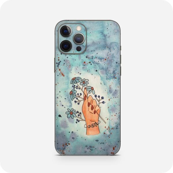 "GREEN MNKY Backcover Skin Smartphone 7"" (Diana Grimm Kollektion) ""Turquoise flower hand"" [3 Stück]"