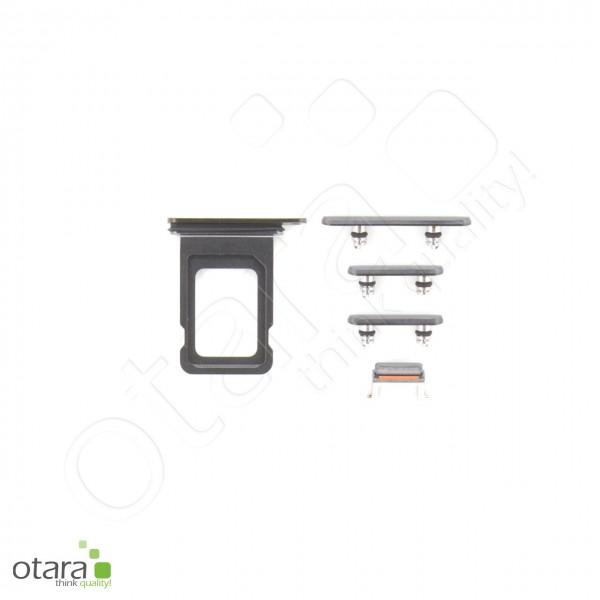 Seitentasten Set inkl. SIM Tray, 5-teilig geeignet für iPhone 11 Pro, schwarz