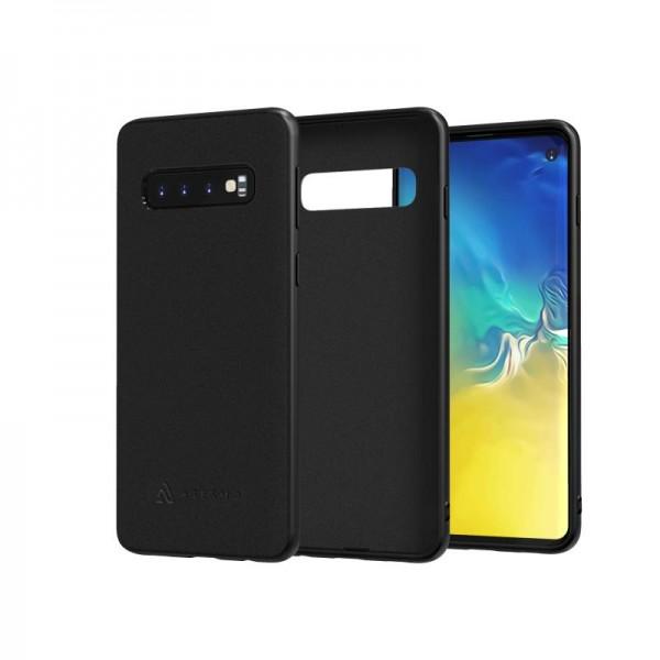 ASESMO Alcantara Handyhülle für Samsung Galaxy S10 Plus, schwarz