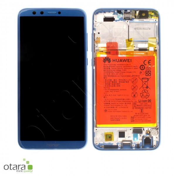 Displayeinheit inkl. Rahmen, Akku Huawei Honor 9 Lite Dual SIM (LLD-L31), blau, Serviceware