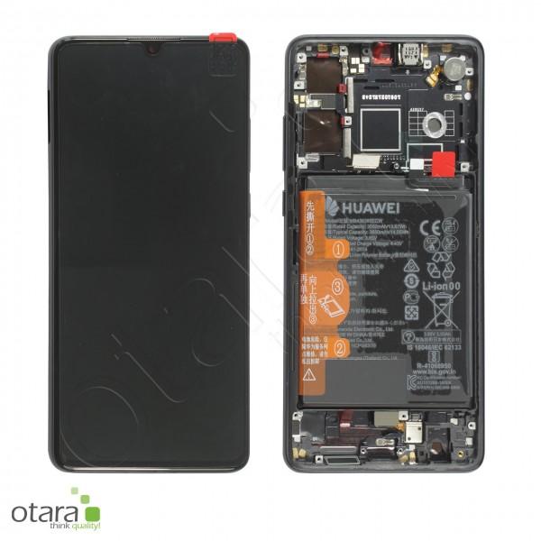 Displayeinheit inkl. Rahmen, Akku Huawei P30, schwarz, Serviceware