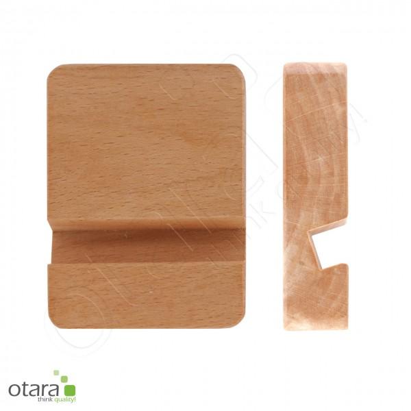 "Handyständer ""wooden"" Universal Halter, Material: Echtholz, ca. 6x8x3cm"