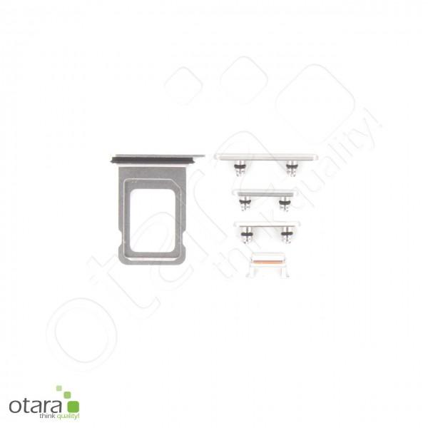 Seitentasten Set inkl. SIM Tray, 5-teilig geeignet für iPhone 11 Pro, silber