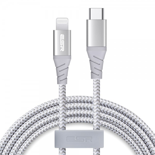 ESR Charging Cable USB-C to Lightning 1M Durable Double Braided Nylon Silver