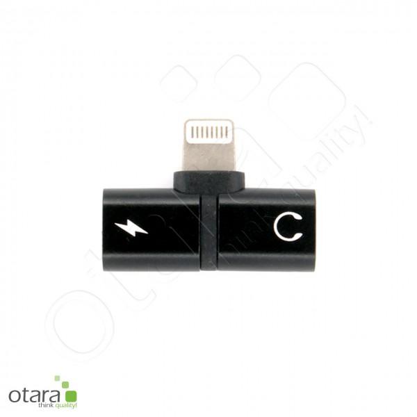 Adapter/Splitter Lightning auf Lightning/Kopfhörerbuchse 3,5mm, schwarz
