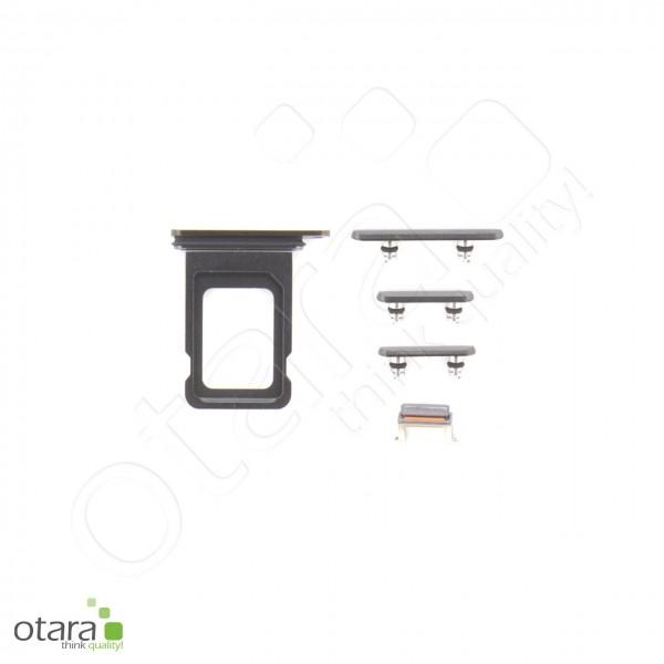 Seitentasten Set inkl. SIM Tray, 5-teilig geeignet für iPhone 11 Pro Max, schwarz