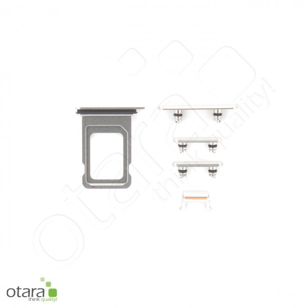 Seitentasten Set inkl. SIM Tray, 5-teilig geeignet für iPhone 11 Pro Max, silber