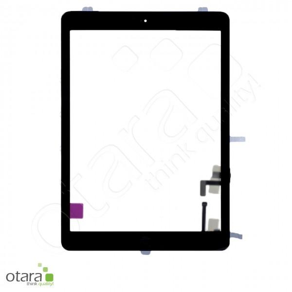 Displayglas geeignet für iPad Air 1 (2013) A1474 A1475 A1476 (m.HB), schwarz