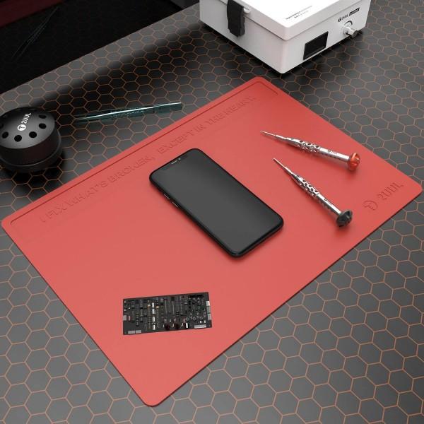 2UUL Arbeitsmatte, Silikon, hitzebeständig, (ca.40x28cm), rot