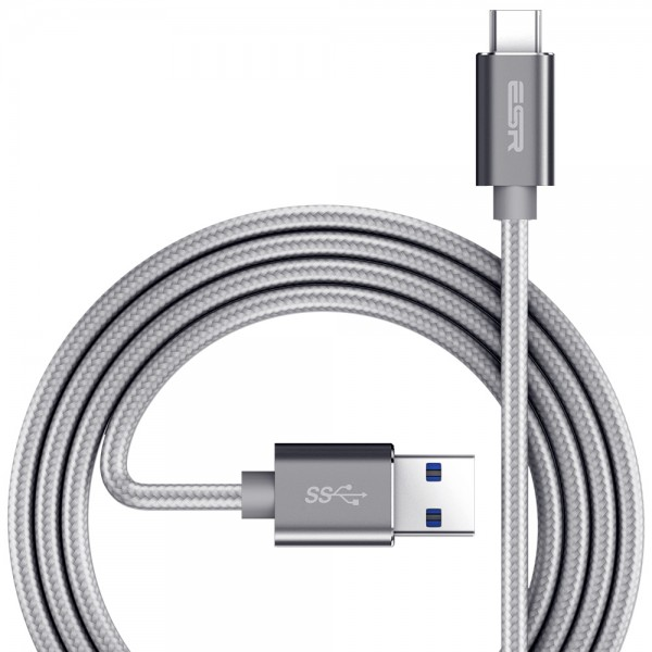 ESR Charging Cable USB-C 1M Durable Double Braided Nylon Silver Grey