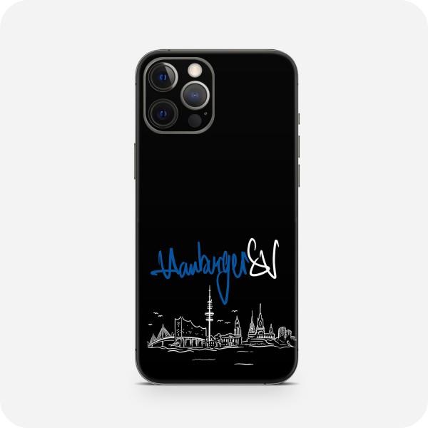 """GREEN MNKY Backcover Skin Smartphone 7"""" (HSV Kollektion) """"Hamburger SV Skyline Black"""" [3 Stück]"""