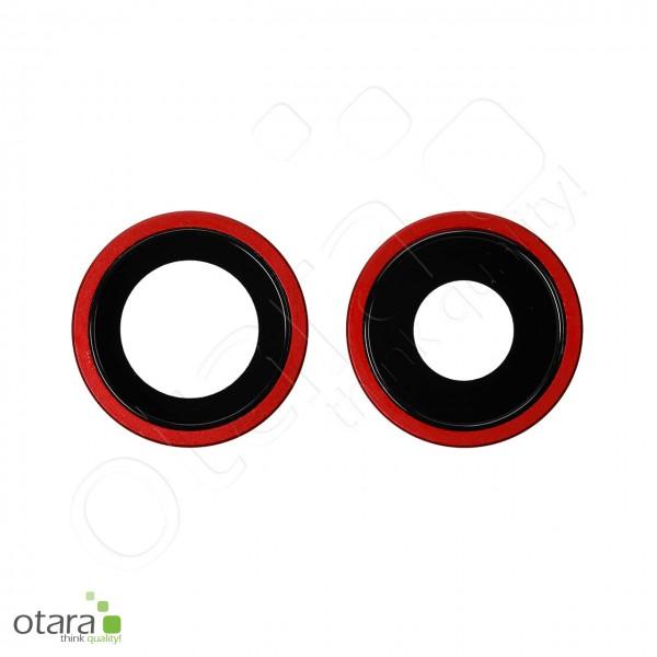Kameraglas Linse (mit Rahmen) geeignet für iPhone 11 (2er Set), rot