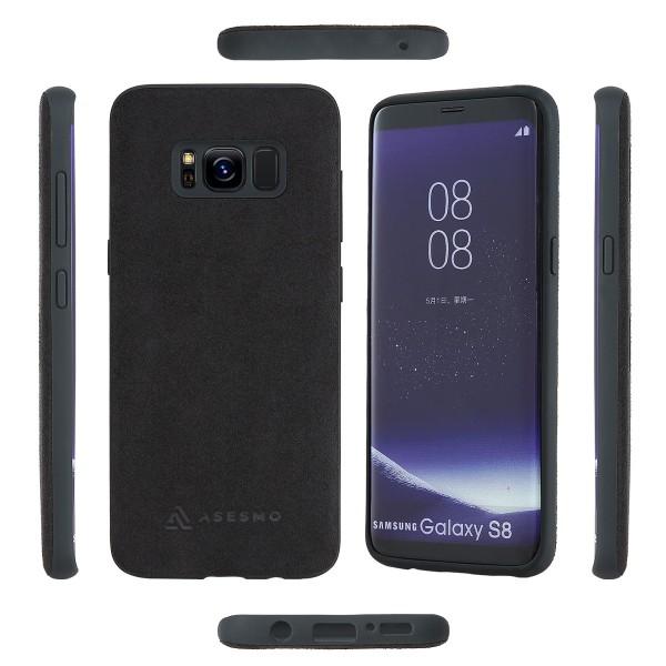 ASESMO Alcantara Handyhülle für Samsung Galaxy S8, schwarz