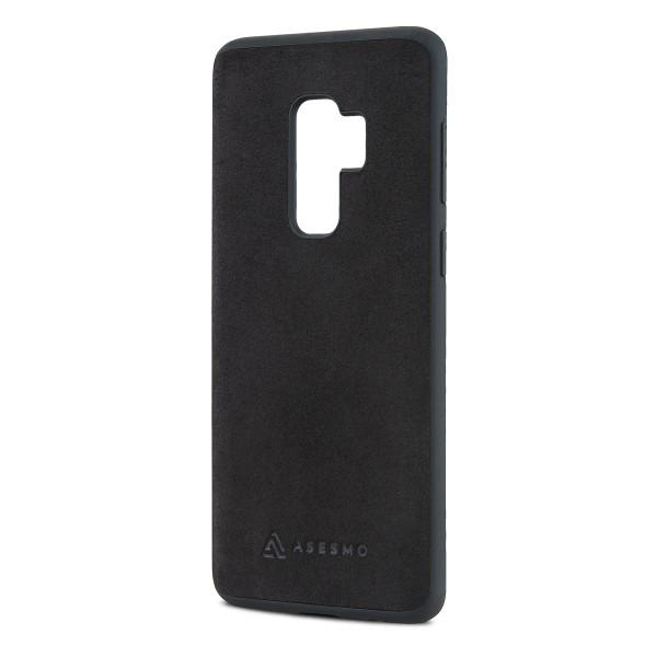 ASESMO Alcantara Handyhülle für Samsung Galaxy S9 Plus, schwarz