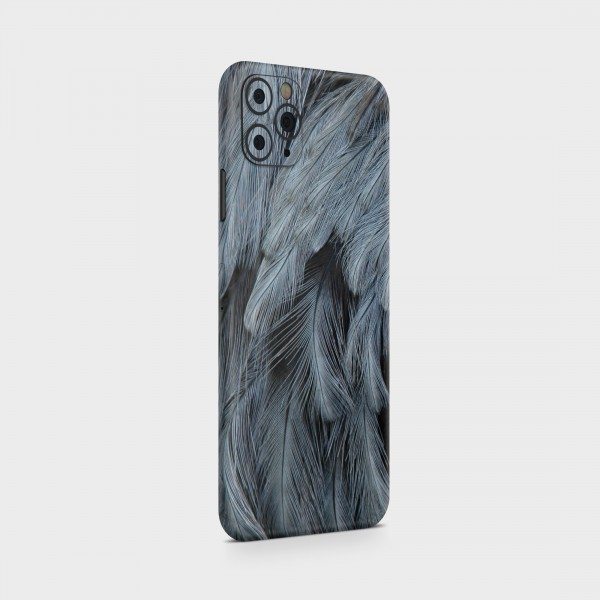 """GREEN MNKY Backcover Skin Smartphone 7"""" (Design Serie) """"Grey Feathers"""" [3 Stück]"""