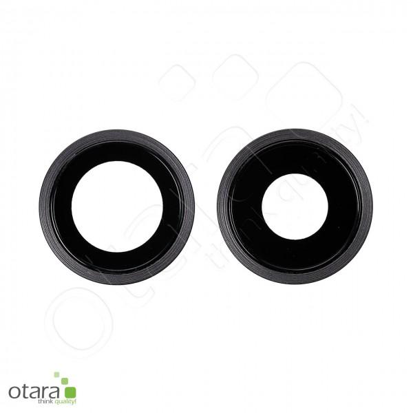 Kameraglas Linse (mit Rahmen) geeignet für iPhone 11 (Set aus 2), schwarz